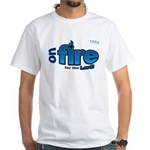 On Fire for the Lord 2 blue White T-Shirt
