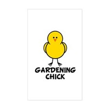 Gardening Chick Rectangle Decal