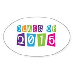 Colorful Class Of 2015 Oval Sticker (10 pk)