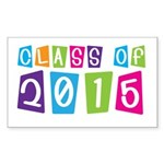 Colorful Class Of 2015 Rectangle Sticker 50 pk)
