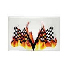 Racing Flag Fire 1 Rectangle Magnet