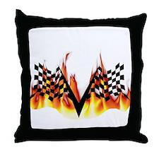 Racing Flag Fire 1 Throw Pillow