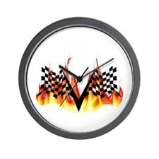Racing Flag Fire 1 Wall Clock