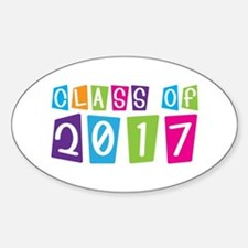 Colorful Class Of 2017 Oval Decal