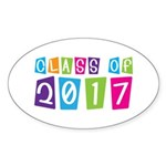 Colorful Class Of 2017 Oval Sticker (10 pk)
