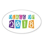 Whimsical Class Of 2018 Oval Sticker