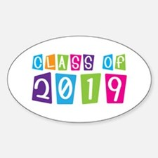Colorful Class Of 2019 Oval Decal
