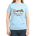 Peace Love Turtles Women's Pink T-Shirt