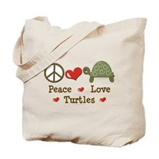 Peace Love Turtles Tote Bag