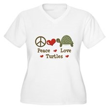 Peace Love Turtles Plus Size V-Neck T-Shirt