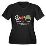 Peace Love Turtles Plus Size V-Neck T shirt