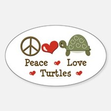 Peace Love Turtles Oval Decal