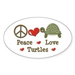 Peace Love Turtles Oval Sticker