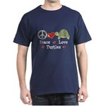 Peace Love Turtles Navy Blue T-Shirt