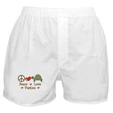 Peace Love Turtles Boxer Shorts