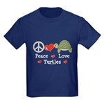 Peace Love Turtles Kids Navy Blue T-Shirt