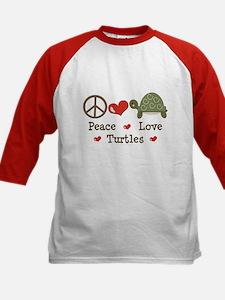 Peace Love Turtles Kids Red Baseball Jersey