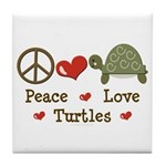 Peace Love Turtles Tile Coaster