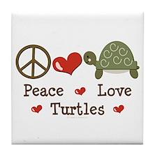 Peace Love Turtles Tile Coaster