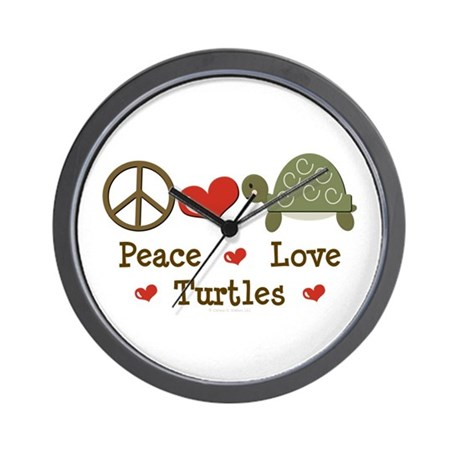 Peace Love Turtles Wall Clock