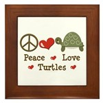 Peace Love Turtles Framed Tile