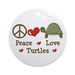 Peace Love Turtles Ornament (Round)