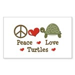 Peace Love Turtles Rectangle Sticker