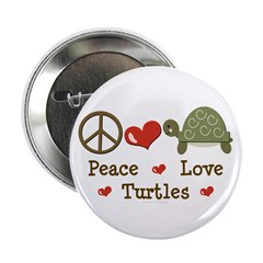 """Peace Love Turtles 2.25"""" Button (100 pack)"""