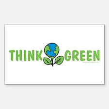 Think Green Rectangle Sticker 10 pk)