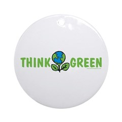 Think Green Ornament (Round)