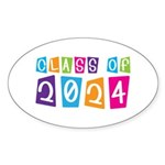 Colorful Class Of 2024 Oval Sticker (10 pk)