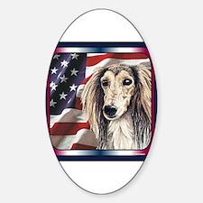 Saluki Patriotic USA Flag Oval Decal