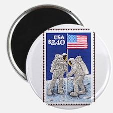 Apollo 11 Flag on Moon Stamp Magnet
