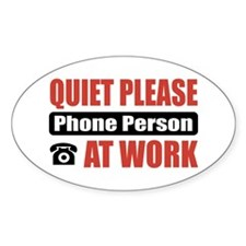 Phone Person Work Oval Sticker (50 pk)