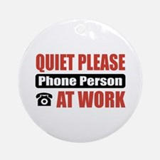 Phone Person Work Ornament (Round)