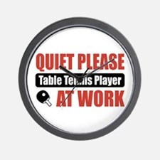Table Tennis Player Work Wall Clock