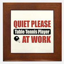 Table Tennis Player Work Framed Tile