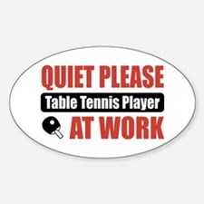 Table Tennis Player Work Oval Decal