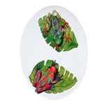 Leaf Frogs Oval Ornament