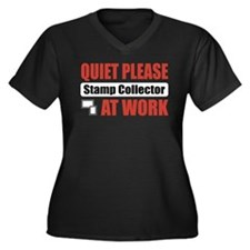 Stamp Collector Work Women's Plus Size V-Neck Dark