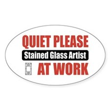 Stained Glass Artist Work Oval Decal