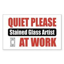 Stained Glass Artist Work Rectangle Decal