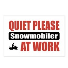 Snowmobiler Work Postcards (Package of 8)