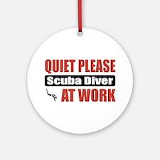 Scuba Diver Work Ornament (Round)
