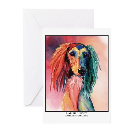 Saluki Sunset Painting Design Greeting Cards (Pack