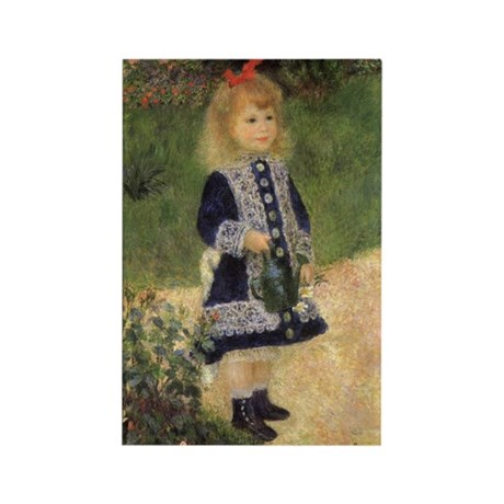 Renoir Girl w Watering Can Rectangle Magnet (10 pa