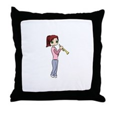 Trumpet Girl Throw Pillow