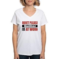Quilter Work Women's V-Neck T-Shirt
