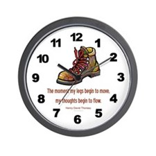 Thoreau Quote Hiking Wall Clock