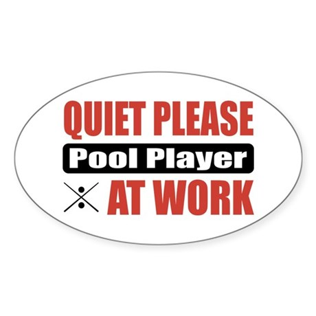 Pool Player Work Oval Sticker